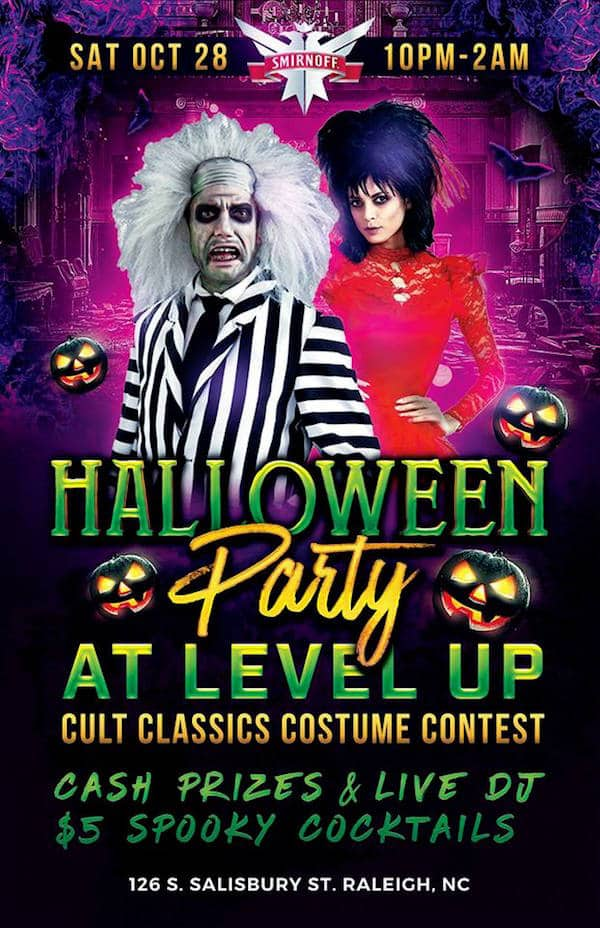 level up arcade bar and kitchen at 126 south salisbury street raleigh is hosting its annual halloween costume party on saturday october 28th 2017