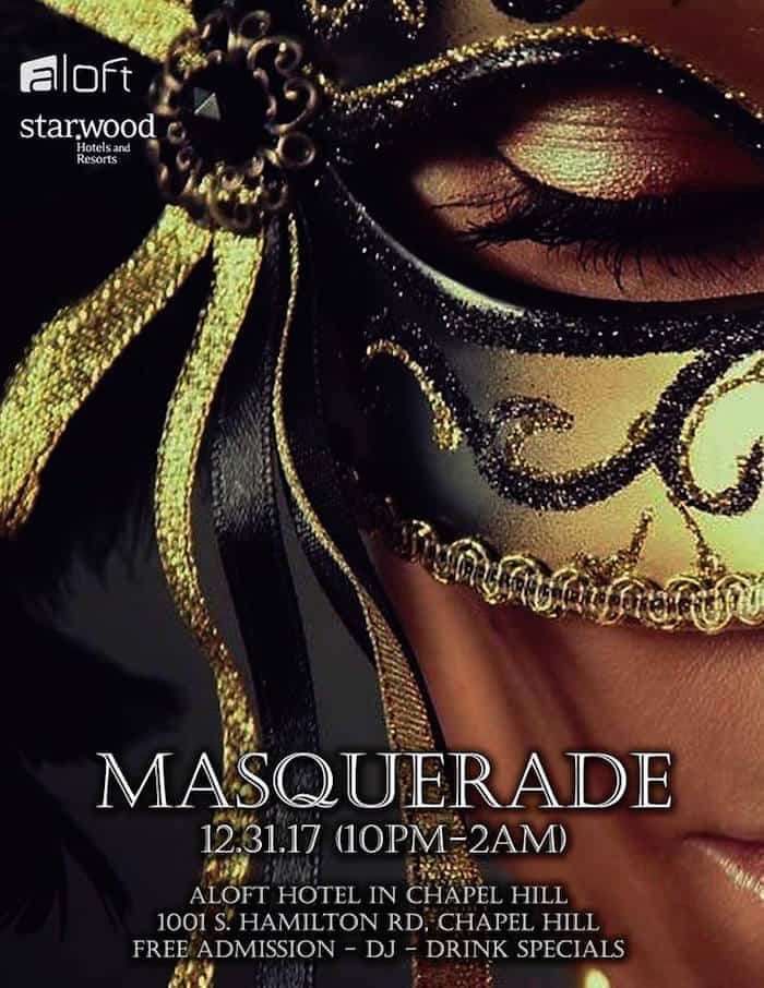 free new year s eve masquerade at aloft chapel hill triangle on