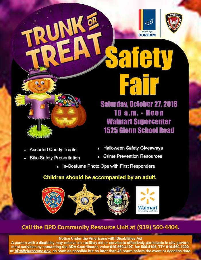 Trunk Or Treat And Safety Fair With Durham Police Department