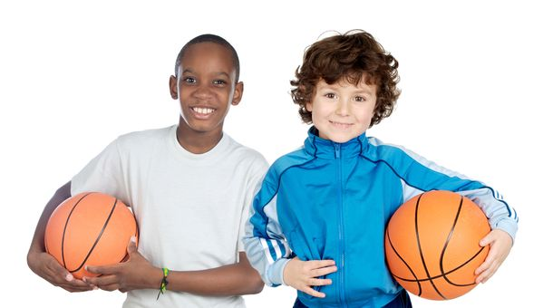 Two Adorable Children With Basketball On A Over White Background