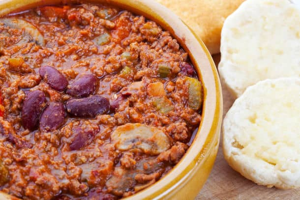 Bowl Of Hot Chili Con Carne With A Side Of Hot Buttered Biscuits