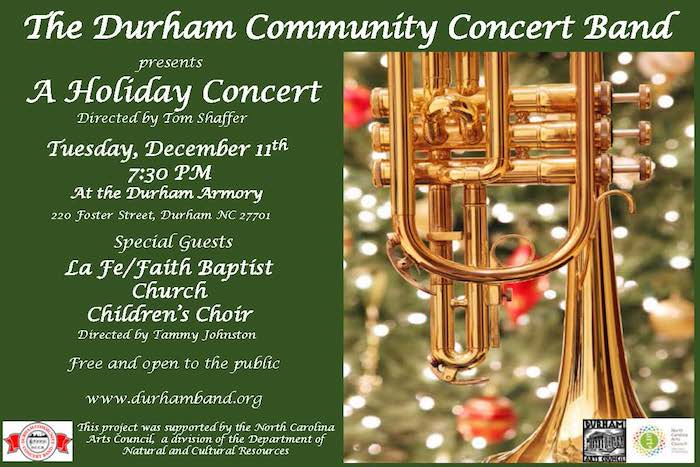 Durham Community Concert Band Annual Holiday Concert Triangle On